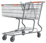 Metal Wire Shopping Cart 17,000 cu. in. With Orange Handle, Seat, & Bumpers