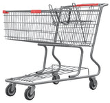 Metal Wire Shopping Cart 17,000 cu. in. With Red Handle, Seat, & Bumpers