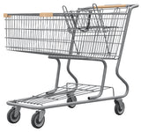 Metal Wire Shopping Cart 17,000 cu. in. With Tan Handle, Seat, & Bumpers