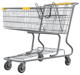 Metal Wire Shopping Cart 17,000 cu. in. With Yellow Handle, Seat, & Bumpers