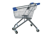 Kiddie Metal Wire Shopping Cart With Blue Handle & Bumpers