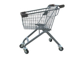 Kiddie Metal Wire Shopping Cart With Dark Gray Handle & Bumpers