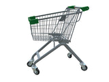 Kiddie Metal Wire Shopping Cart With Green Handle & Bumpers