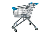 Kiddie Metal Wire Shopping Cart With Light Blue Handle & Bumpers