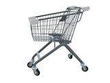 Kiddie Metal Wire Shopping Cart With Light Gray Handle & Bumpers