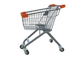 Kiddie Metal Wire Shopping Cart With Orange Handle & Bumpers