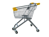 Kiddie Metal Wire Shopping Cart With Yellow Handle & Bumpers