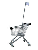 Kiddie Metal Wire Shopping Cart With Flagpole & Black Handle & Bumpers