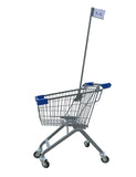 Kiddie Metal Wire Shopping Cart With Flagpole & Blue Handle & Bumpers