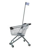 Kiddie Metal Wire Shopping Cart With Flagpole & Dark Gray Handle & Bumpers