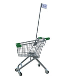 Kiddie Metal Wire Shopping Cart With Flagpole & Green Handle & Bumpers