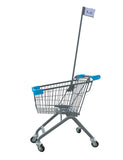 Kiddie Metal Wire Shopping Cart With Flagpole & Light Blue Handle & Bumpers