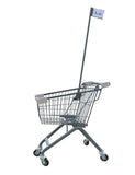 Kiddie Metal Wire Shopping Cart With Flagpole & Light Gray Handle & Bumpers