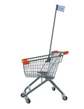 Kiddie Metal Wire Shopping Cart With Flagpole & Orange Handle & Bumpers
