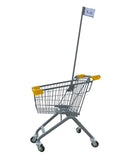 Kiddie Metal Wire Shopping Cart With Flagpole & Yellow Handle & Bumpers