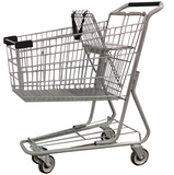 Metal Wire Shopping Cart 6,000 cu. in. With Black Handle, Seat, & Bumpers