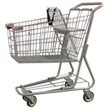 Metal Wire Shopping Cart 6,000 cu. in. With Dark Gray Handle, Seat, & Bumpers