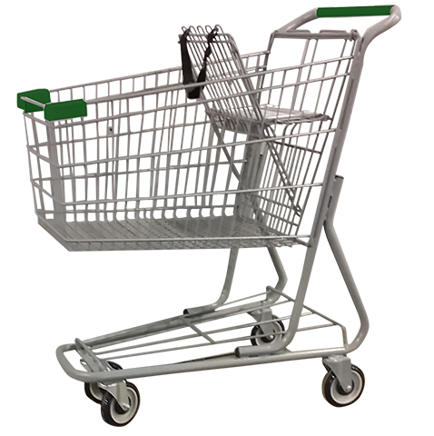 Metal Wire Shopping Cart 6,000 cu. in. With Green Handle, Seat, & Bumpers