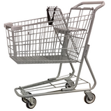 Metal Wire Shopping Cart 6,000 cu. in. With Light Gray Handle, Seat, & Bumpers