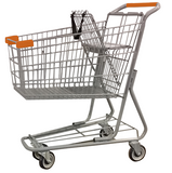 Metal Wire Shopping Cart 6,000 cu. in. With Orange Handle, Seat, & Bumpers