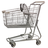 Metal Wire Shopping Cart 6,000 cu. in. With Tan Handle, Seat, & Bumpers