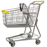 Metal Wire Shopping Cart 6,000 cu. in. With Yellow Handle, Seat, & Bumpers