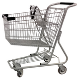 Metal Wire Shopping Cart 9,000 cu. in. With Black Handle, Seat, & Bumpers
