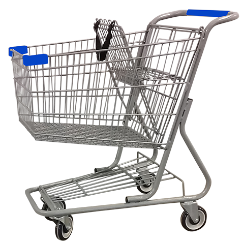 Metal Wire Shopping Cart 9,000 cu. in. With Blue Handle, Seat, & Bumpers