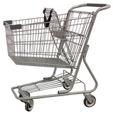 Metal Wire Shopping Cart 9,000 cu. in. With Dark Gray Handle, Seat, & Bumpers