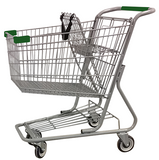 Metal Wire Shopping Cart 9,000 cu. in. With Green Handle, Seat, & Bumpers