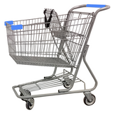 Metal Wire Shopping Cart 9,000 cu. in. With Light Blue Handle, Seat, & Bumpers