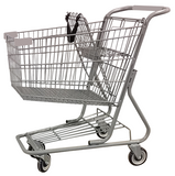 Metal Wire Shopping Cart 9,000 cu. in. With Light Gray Handle, Seat, & Bumpers