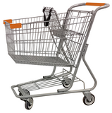 Metal Wire Shopping Cart 9,000 cu. in. With Orange Handle, Seat, & Bumpers