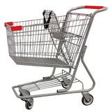 Metal Wire Shopping Cart 9,000 cu. in. With Red Handle, Seat, & Bumpers