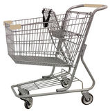 Metal Wire Shopping Cart 9,000 cu. in. With Tan Handle, Seat, & Bumpers