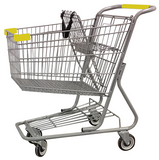 Metal Wire Shopping Cart 9,000 cu. in. With Yellow Handle, Seat, & Bumpers