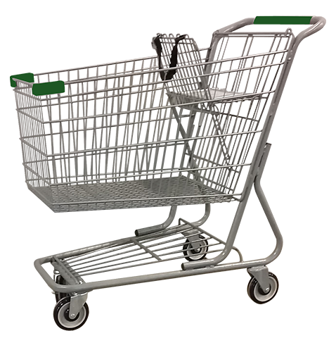 Metal Wire Shopping Cart 12,000 cu. in. With Green Handle, Seat, & Bumpers