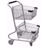 Double Basket Convenience Metal Wire Shopping Cart With Black Handle, Seat, & Bumpers 5,200 cu. in.
