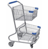 Double Basket Convenience Metal Wire Shopping Cart With Blue Handle, Seat, & Bumpers 5,200 cu. in.