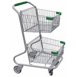 Double Basket Convenience Metal Wire Shopping Cart With Green Handle, Seat, & Bumpers 5,200 cu. in.