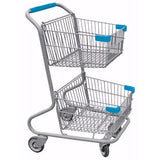 Double Basket Convenience Metal Wire Shopping Cart With Light Blue Handle, Seat, & Bumpers 5,200 cu. in.