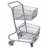Double Basket Convenience Metal Wire Shopping Cart With Light Gray Handle, Seat, & Bumpers 5,200 cu. in.