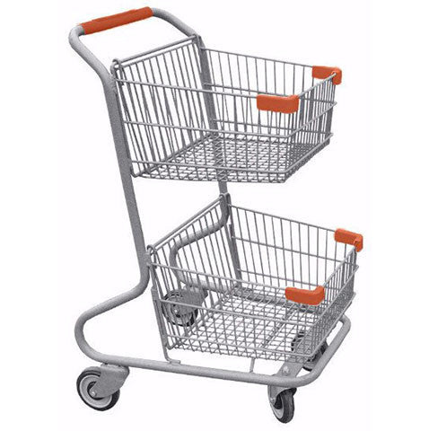 Double Basket Convenience Metal Wire Shopping Cart With Orange Handle, Seat, & Bumpers 5,200 cu. in.