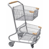 Double Basket Convenience Metal Wire Shopping Cart With Tan Handle, Seat, & Bumpers 5,200 cu. in.