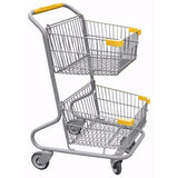 Double Basket Convenience Metal Wire Shopping Cart With Yellow Handle, Seat, & Bumpers 5,200 cu. in.