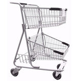 Double Basket Convenience Metal Wire Shopping Cart With Rear Basket & Black Handle, Seat, & Bumpers