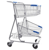 Double Basket Convenience Metal Wire Shopping Cart With Rear Basket & Blue Handle, Seat, & Bumpers