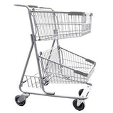 Double Basket Convenience Metal Wire Shopping Cart With Rear Basket & Dark Gray Handle, Seat, & Bumpers