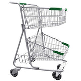 Double Basket Convenience Metal Wire Shopping Cart With Rear Basket & Green Handle, Seat, & Bumpers