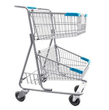 Double Basket Convenience Metal Wire Shopping Cart With Rear Basket & Light Blue Handle, Seat, & Bumpers